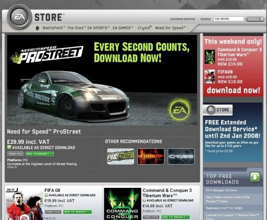 Steam és EA Store digitális letöltések