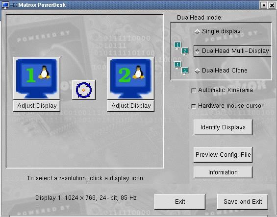 Matrox PowerDesk Linuxra