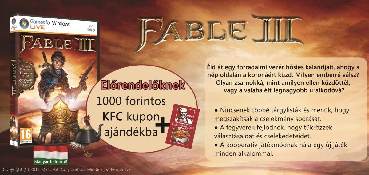Fable III előrendelési akció 1000 Ft-os ajándék KFC utalvánnyal