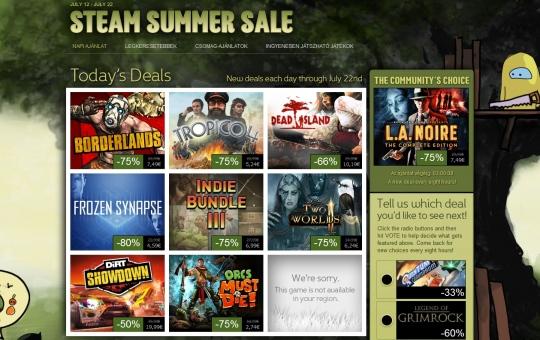Steam nyári akciók július 22-éig